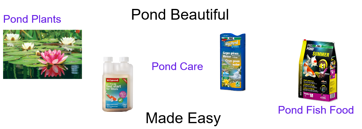 Pond plants, pond food, pond treatments